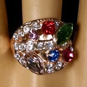 Rare Multi Color Shiney Rhinestones Ring